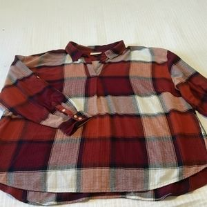 Plaid flannel pullover